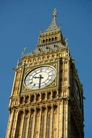 england politics: Close-up of Big Ben, Westminster, London, England, UK, in the morning light Stock Photo