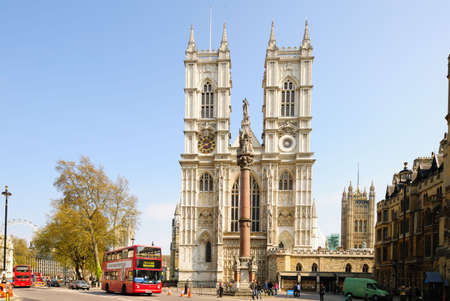 Front facade of Westminster Abbey, London, England, UK on a sunny day