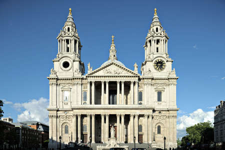 Facade of St Paul's, Cathedral, City of London, England, UK, one of the largest in the world, in early evening light. Stock Photo - 4965371