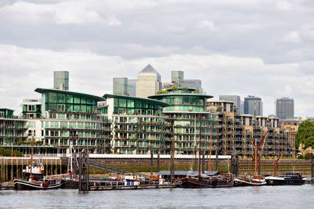 Typical private Thames riverside apartments, Wapping, East End, London, England, UK photo