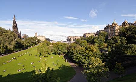 princes street: Edinburgh skyline over East Princes Street Gardens Stock Photo