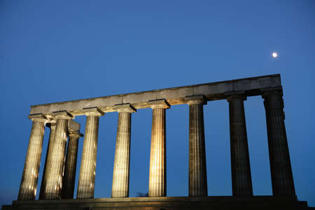National Monument, Calton Hill, Edinburgh, Scotland, UK illuminated at dusk Stock Photo - 6337928