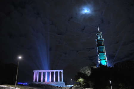 National Monument and Nelsons Memorial on Calton Hill Edinburgh,Scotland, in winter snow photo