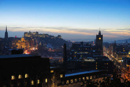 Central Edinburgh, Scotland, UK, at nightfall in winter