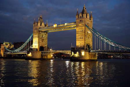 famous places: Tower Bridge, London, England, UK, Europe, illuminated at dusk