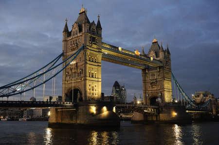 Tower Bridge, London, England, UK, Europe, illuminated at dusk photo