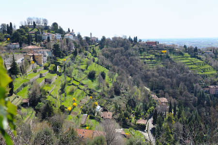 terracing: View over terraced gardens to San Vigilio, Bergamo, Lombardy, Italy, Europe.  The remains of the Medieval castle are visible on its summit. Stock Photo