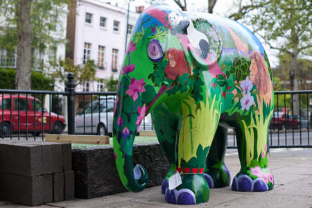 One of the 260 baby asian elephant statues, comprising the Elephant Parade, that can be found around central London, England, between 3rd May 2010 and the end of June, when they will be auctioned to raise money toward the conservation of Asian elephants a