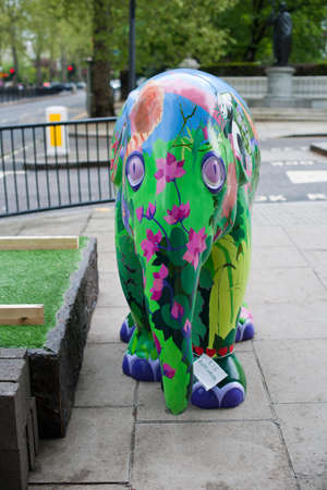 One of the 260 baby asian elephant statues, comprising the Elephant Parade, that can be found around central London, England, between 3rd May 2010 and the end of June, when they will be auctioned to raise money toward the conservation of Asian elephants a Stock Photo - 6897679