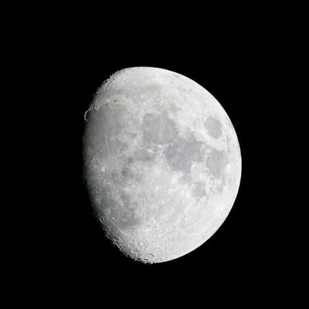 waxing gibbous: Close-up of the waxing gibbous moon (84% of full) on 23 May 2010.