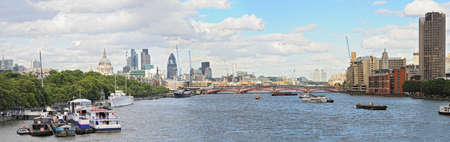 Panoramic view over the River Thames, London, England, UK to St Paul's Cathedral, and the City, in summer Stock Photo - 7552802