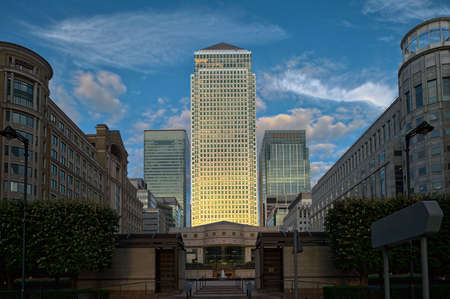 Canary Wharf London England UK from Cabot Square at dusk photo
