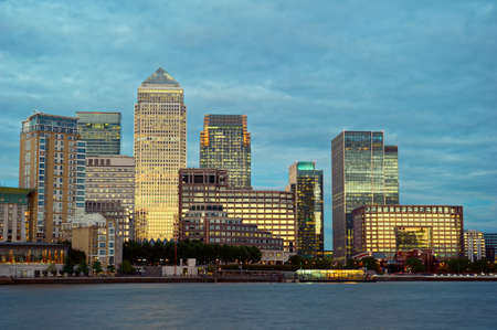 Canary Wharf, the other financial business district, Isle of Dogs, London, England, UK, Europe, at dusk Stock Photo