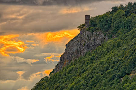 scotland landscape: Kinnoull Tower, near Perth , Perth and Kinross, Scotland, Europe, at sunset.