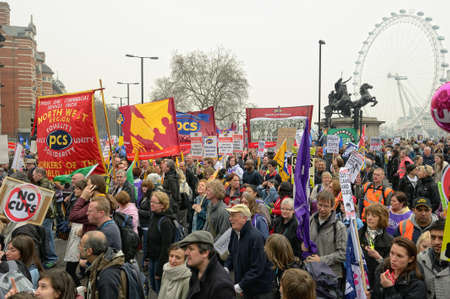 public sector: LONDON - MARCH 26: Protesters march against public expenditure cuts in a rally -- March for the Alternative -- organised by the Trades Union Congress (TUC), London, England,  March 26 2011