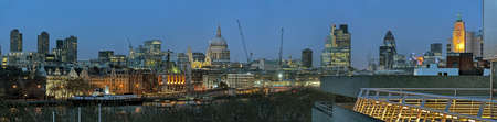 Panoramic view of City of London skyline, England, UK, Europe at dusk