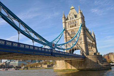 place of interest: Tower Bridge, London, England, UK, Europe, from the east, on a sunny spring afternoon