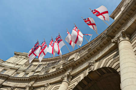 White Ensign flags flying on Admiralty Arch, London, England, UK Zdjęcie Seryjne