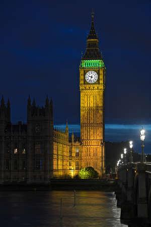 parliaments: Big ben illuminated at nightfall, London, England, UK