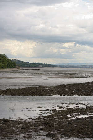 lothian: Firth of Forth, Scotland, looking west from Cramond, by the mouth of the River Almond, at low tide
