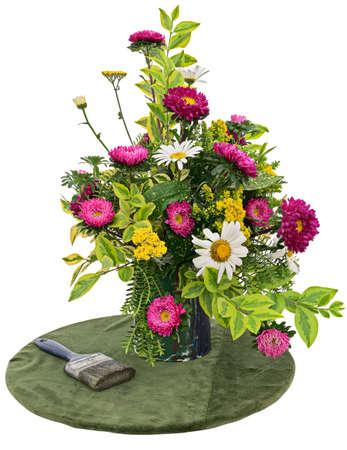 Flower arrangement on white background Stock Photo