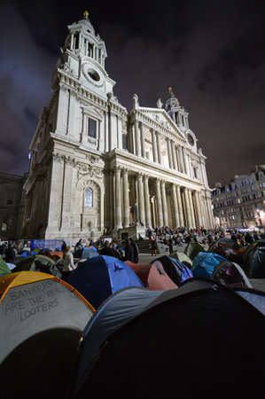 LONDON, UK - OCTOBER 30 2011: 'Occupy London Stock Exchange' protesters camping outside St Paul