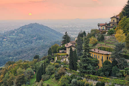 abodes: Sun setting over the countryside outside Bergamo, Lombardy, Italy, Europe Stock Photo