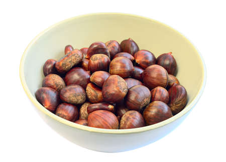 marron: Bowl of sweet chestnuts Stock Photo