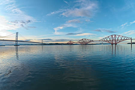 The Bridges, Firth of Forth, near Edinburgh, Scotland, at sunset, from South Queensferry Stock Photo