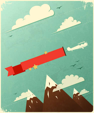 Retro Poster Design with clouds. Illustration