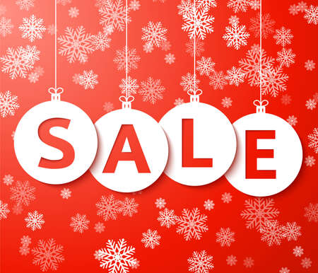 special sale: Christmas sale balls with snowflake Vector