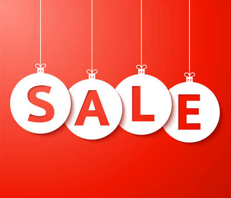 Christmas sale balls  cut the paper  Vector Stock Photo - 16596773