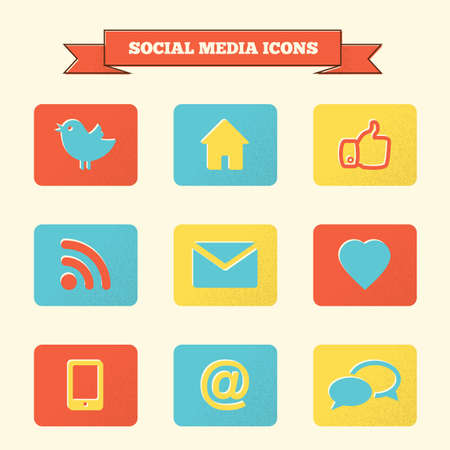 Social media icons set. Vintage styled icons. Vector