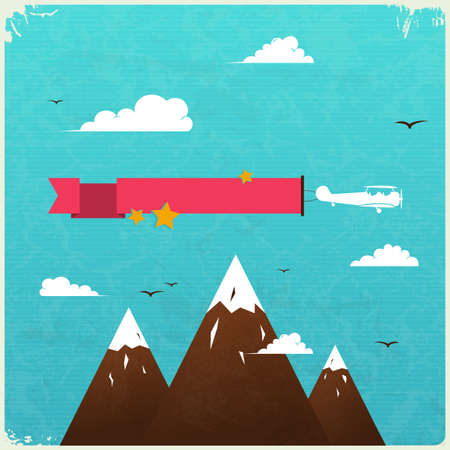 Retro Poster Design with clouds.  Illustration. Vector