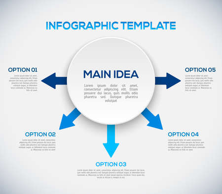 Infographics template with arrows and 3D circle illustration