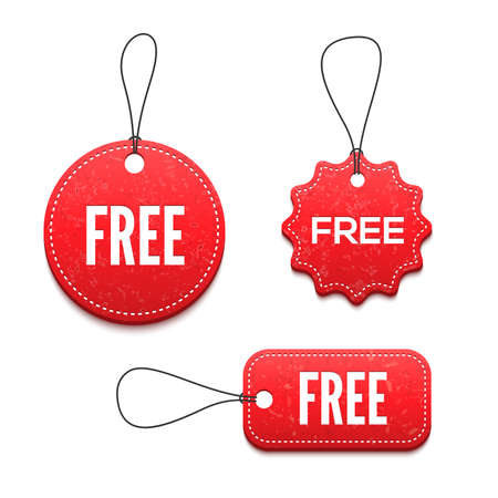 free button: 3D free badges set for your design illustrations