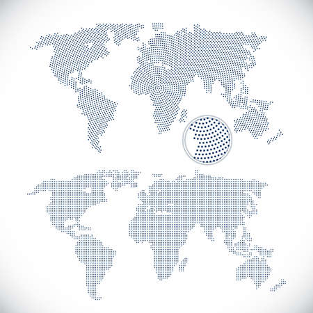Two dotted world maps illustration