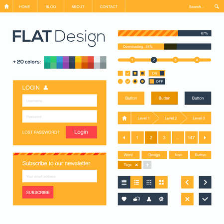 website header: Flat web and mobile design elements, buttons, icons.