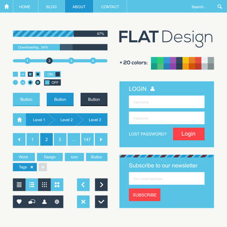 website header: Flat web and mobile design elements illustration