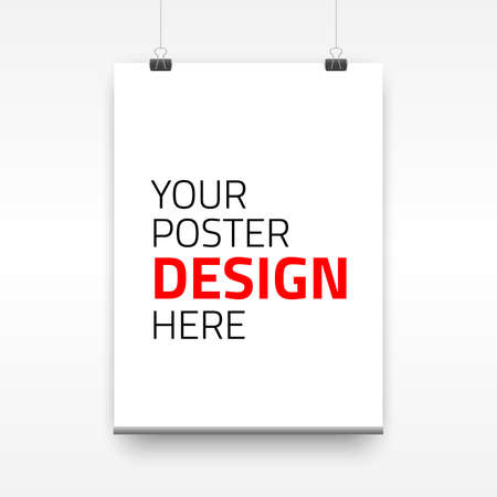 Vector poster template of a paper sheet. Vector illustration for your projects