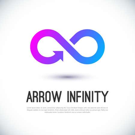 infinito: Flecha infinito de vectores de negocio insignia de la plantilla de dise�o para su dise�o. Vectores