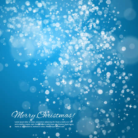 Blue night christmas background with bokeh and stars