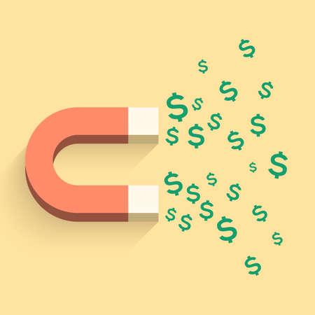 iman: Imán con la ilustración de negocios dinero. Ilustración vectorial para su diseño