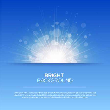 blue ray: Shiny sun vector, sunbeams, sunrays, bokeh and space for your text