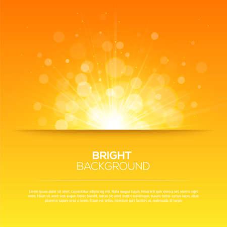 Glänzende Sonne Vektor, Sonnenstrahlen, Sonnenstrahlen, Bokeh und Platz für Ihren Text