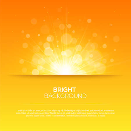 sun rays: Shiny sun vector, sunbeams, sunrays, bokeh and space for your text