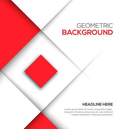 Geometric red 3D background Vector illustration for your design