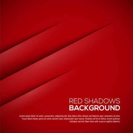 business background: Red background with realistic shadows. Vector illustration for your design Illustration