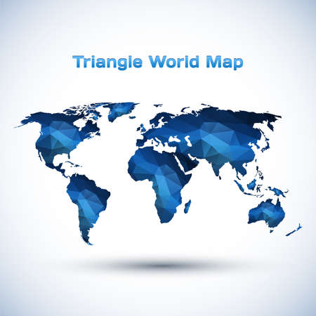 Triangle World Map Illustration. Vector illustration for your design. 矢量图像
