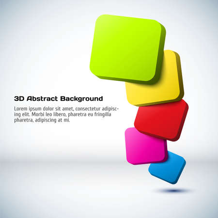 Colorful 3D rectangle background. Vector illustration for your design